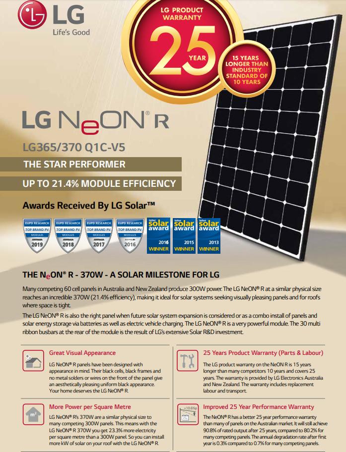 lg neon r solar panels sold in brisbane